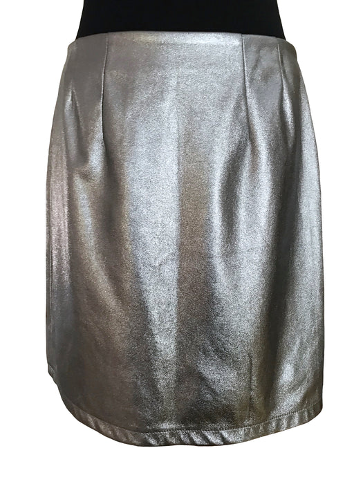Faux Leather Silver Metallic Pencil Mini Skirt, Disco Party Hippie Rave Festival Shirt, Halloween Xmas New Year Glam Silver Shimmer Skirt L