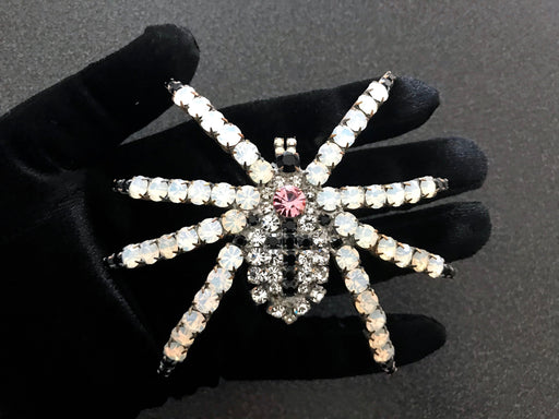 Old Czech Crystal Glass HUGE Bombe Spider Brooch, White Glass Black Cross Clear Stones Halloween Mardi Gras Carnival LARGE Tarantula Pin
