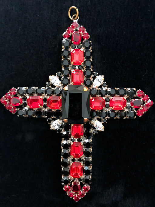 Huge Massive Old Czech Crystal Glass Cross Pendant, Halloween Black Red Faceted Glass Rhinestones Day Of The Dead Home Wall Table Decoration