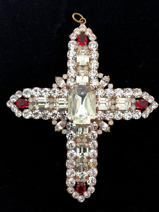 Huge Massive Old Czech Crystal Glass Cross Pendant, Halloween Clear Red Faceted Glass Rhinestones Day Of The Dead Home Wall Table Decoration