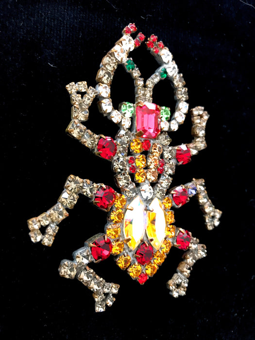 LARGE Crystal Glass BEETLE BUG Brooch, Old Czech Aurora Borealis Multi Color Rhinestone Xmas Carnival Brooch, Insect Lapel Scarf Shawl Pin