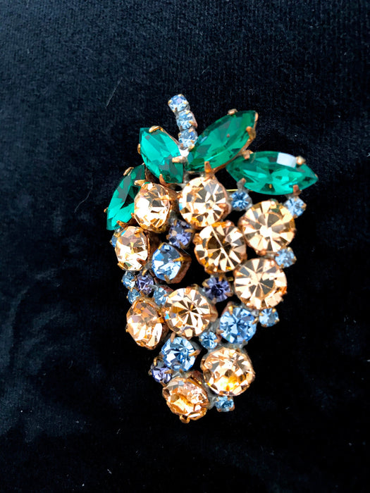 Old Czech Large Crystal Glass Brooch, Grapes Berry Oval Orange Blue Green Rhinestone Handmade Mardi Gras Thanksgiving Lapel Scarf Shawl Pin