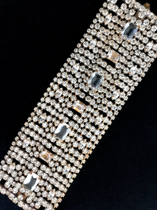 Art Deco Style WIDE Crystal Glass Bracelet, Old Czech Easter Xmas Wedding Dazzling Diamante Link Bracelet, Bridal Evening Party Bracelet