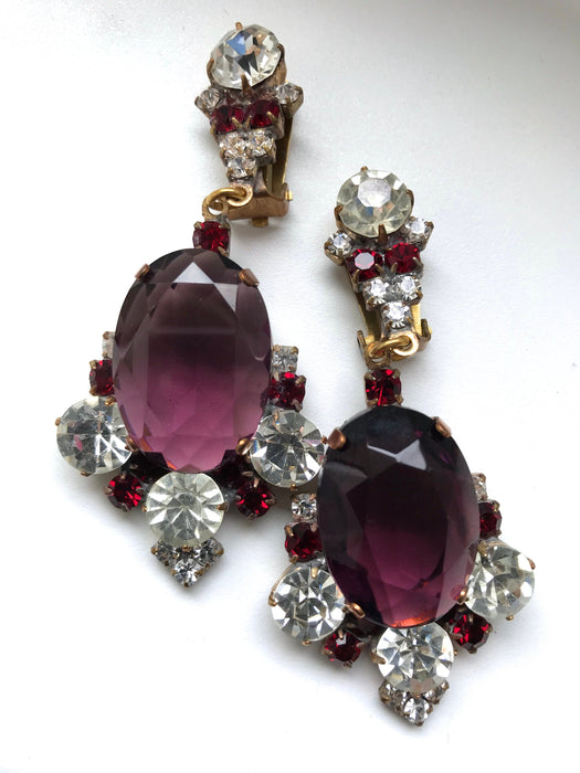 Old Czech Crystal Glass Pink Earrings, Art Deco HUGE Purple & Red Rhinestone Handmade HUSAR.D Drop Dangle Clip On Jablonec Gift Earrings