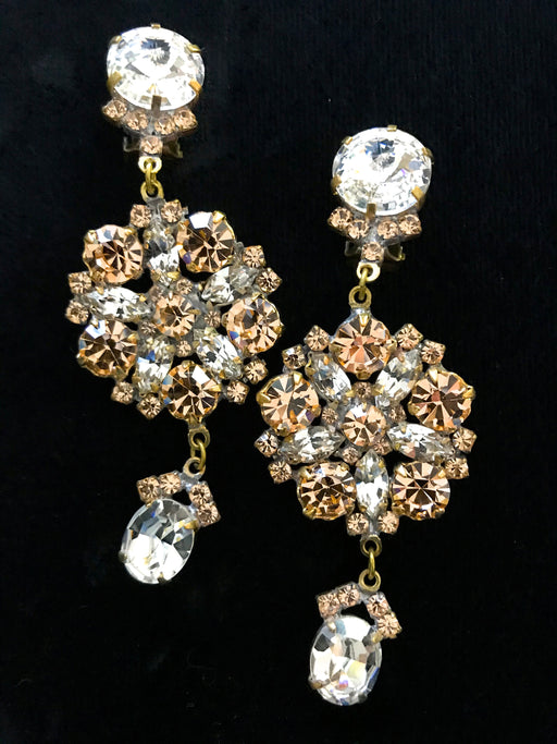 Old Czech Crystal Champagne Glass Diamante Earrings, Art Deco HUGE Rhinestone Drop Dangle Clip On Earrings, Wedding Bridal Xmas Earrings
