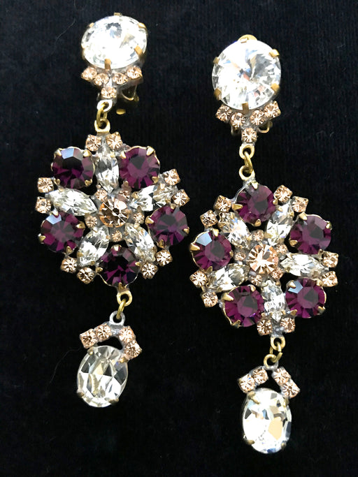 Old Czech Crystal Glass Purple Champagne Earrings, Art Deco HUGE Rhinestone Drop Dangle Clip On Earrings, Mardi Gras Carnival Xmas Earrings