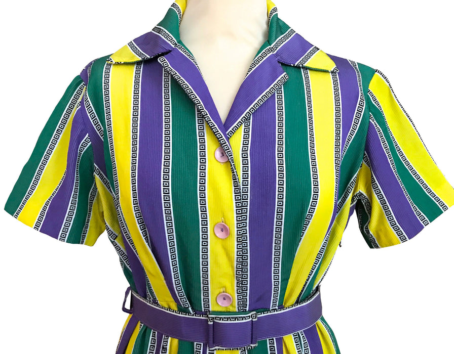60s MOD Striped Wiggle Dress, Green Yellow Purple Belted Sheath Shirt Dress sz Large, 50s style Wide Collar Button Down Summer Day Tea Dress