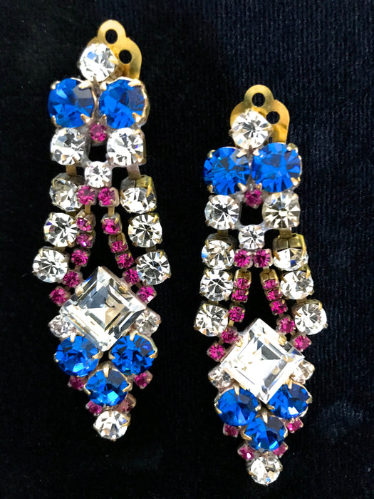 Art Deco Old Czech Glass Blue Pink Earrings, Dangle Drop Crystal Rhinestone Chandelier Clip On Xmas Mardi Gras Carnival Gift Clip Earrings