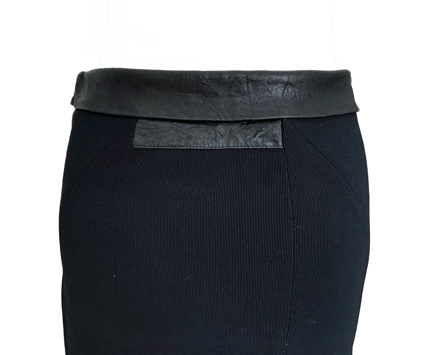 Black Bodycon Ribbed Skirt Nappa Leather Trim, Stretchy Tube Fitted Pencil Knee-Length Grunge Skirt, Sexy Secretary Office Career Skirt sz S