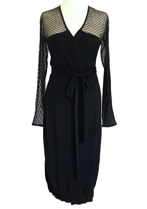 Diane von Furstenberg DVF Silk Jersey LBD, Lace Trim Wrap Slip Cocktail Party Dress, Slinky Lace Illusion Plunge Neck Lace Occasion Dress S