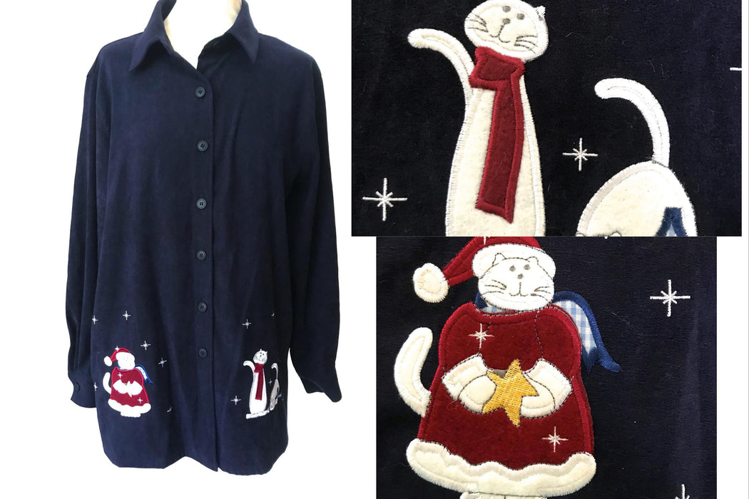 90s Xmas Ugly Button Shirt, Unisex Navy Blue Red with Applique Santa & Cats Patchwork Details Oversize Top L, Xmas Shirt for Crazy Cat Lady