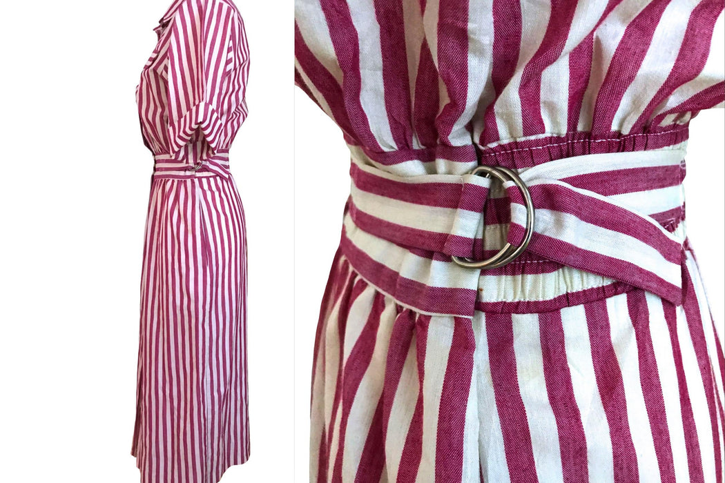 80s Raspberry Pink Cotton Stripe Dress, Emo Wiggle Nautical Sailor Sun Shirt Day Dress, 50s Style Summer Sheath Collated Belted Cruise Dress