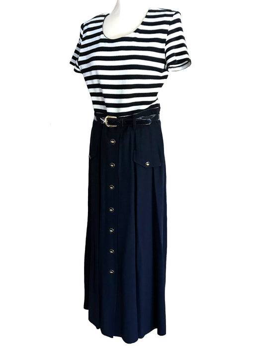 80s JOSEPH RIBKOFF Dark Navy Blue White Sailor Dress, Nautical Buttoned Belted Shirtwaist Dress, Striped Vintage Power Yacht Cruise Dress M