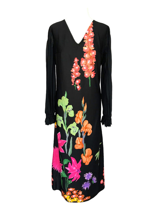 80s Black Bold Floral Sheer Pleated Sleeves Dress, A-Line Cocktail Party Wedding Guest Dress, pink Green Orange Purple Floral Tea Dress sz M