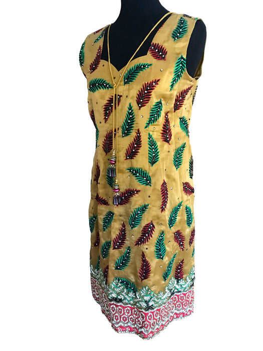 80s Golden Satin Embroidered Applique Dress, Ethnic Sequinned Embellished Indian Inspired Occasion Party Midi Dress, MOD Style Sheath Dress