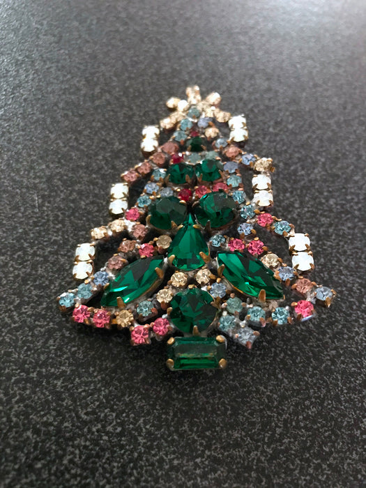 "Old Czech Crystal Glass HUGE Xmas Tree Brooch, 3"" Green & Multi Color Rhinestone Handmade Christmas Gift HUSAR.D Signed Big Lapel Brooch Pin"