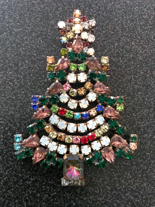 "Old Czech Crystal Glass Chunky Xmas Tree Brooch, 3"" Multi Color Rhinestone Handmade Christmas Gift HUSAR.D Signed Big Lapel Scarf Brooch Pin"