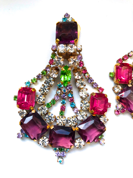 Old Czech Crystal Glass Carnival Earrings, HUGE Chandelier Multi Color Rhinestone Handmade Drop Dangle Clip Xmas Gift Mardi Gras Earrings