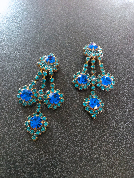 Old Czech Crystal Glass Blue & Green Xmas Earrings, Large Chandelier Rhinestone Handmade Drop Dangle Clip Evening New Year Party Earrings