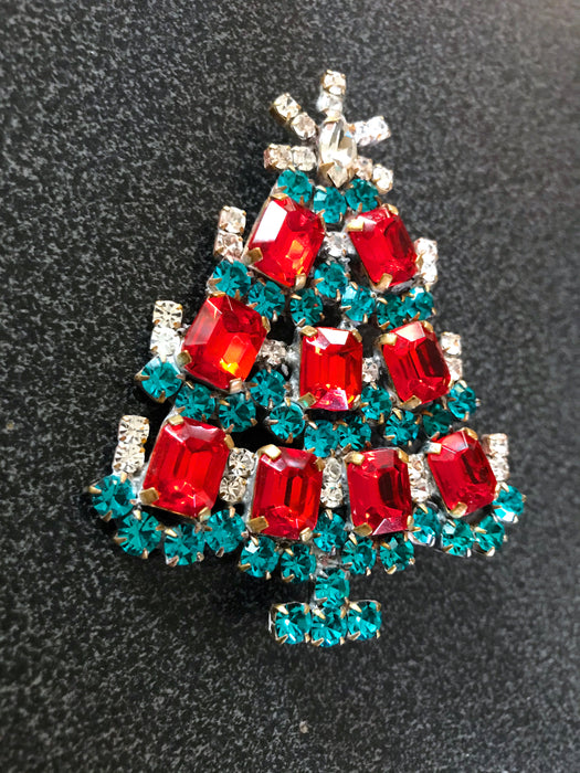 "Old Czech Crystal Glass Chunky Xmas Tree Brooch, 3"" Red & Green Rhinestone Handmade Christmas Gift HUSAR.D Signed Big Lapel Scarf Brooch Pin"