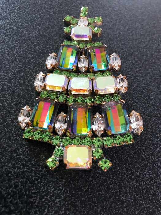 "Old Czech Crystal Glass HUGE Xmas Tree Brooch, 3.5"" Green Watermelon Rhinestone Handmade Christmas Gift HUSAR.D Signed Big Lapel Brooch Pin"