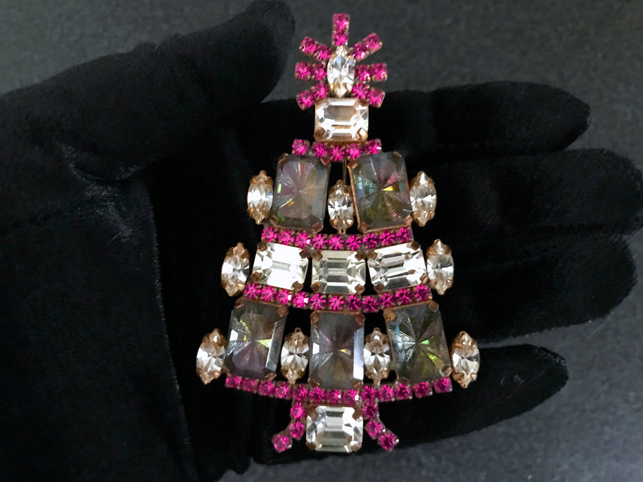 "Old Czech Crystal Glass HUGE Xmas Tree Brooch, 3.5"" Pink & Watermelon Rhinestone Handmade Christmas Gift HUSAR.D Signed Big Lapel Brooch Pin"