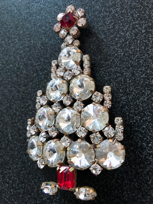 "Old Czech Crystal Glass HUGE Xmas Tree Brooch, 3.5"" Diamante Clear & Red Rhinestone Handmade Christmas Gift HUSAR.D Signed Lapel Brooch Pin"