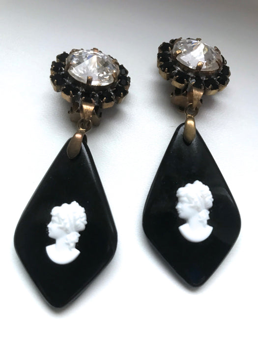 Black & White Carved Glass Cameo Xmas Earrings, Victorian Style Diamante Clear Rhinestone Earrings, Old Czech Dangle Handmade Clip Earrings