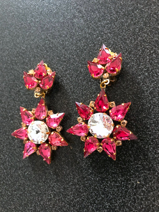 Old Czech Strawberry Red Crystal Glass Earrings, Xmas Star Snowflake LARGE Rhinestone Handmade Drop Dangle Clip On Czechoslovakia Earrings