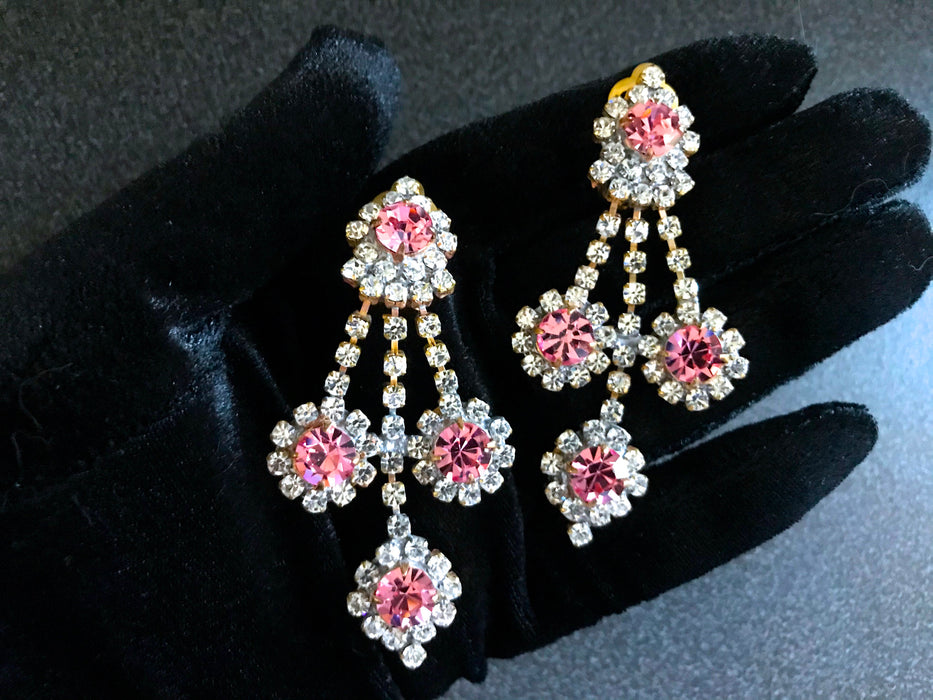 Old Czech Crystal Glass Pink & Diamante Xmas Earrings, Large Chandelier Rhinestone Handmade Drop Dangle Clip New Year Party Evening Earrings