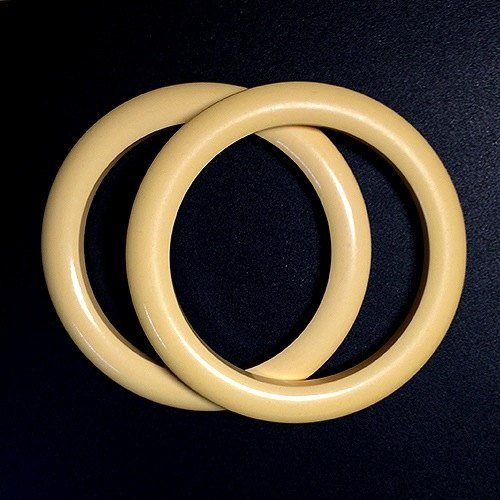 50s Set of Two Vintage Creamy Pale Yellow Bakelite Bangle Bracelets Tested Authentic