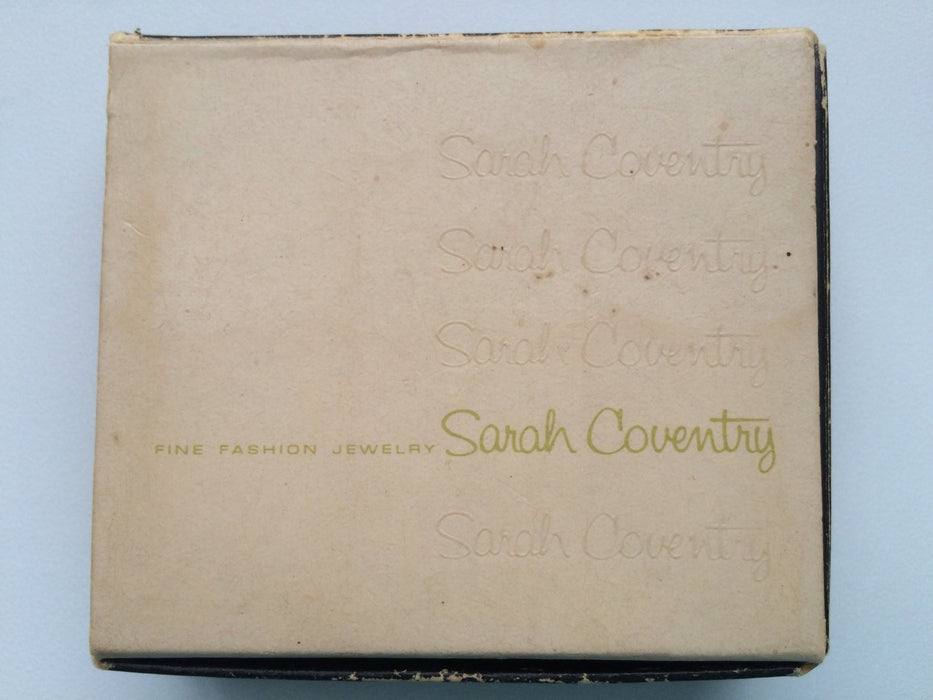 "1968 Vintage Sarah Coventry Signed Silver Tone ""STRAWBERRY ICE"" Brooch Pin & Clip On Earrings Set With Original Box"