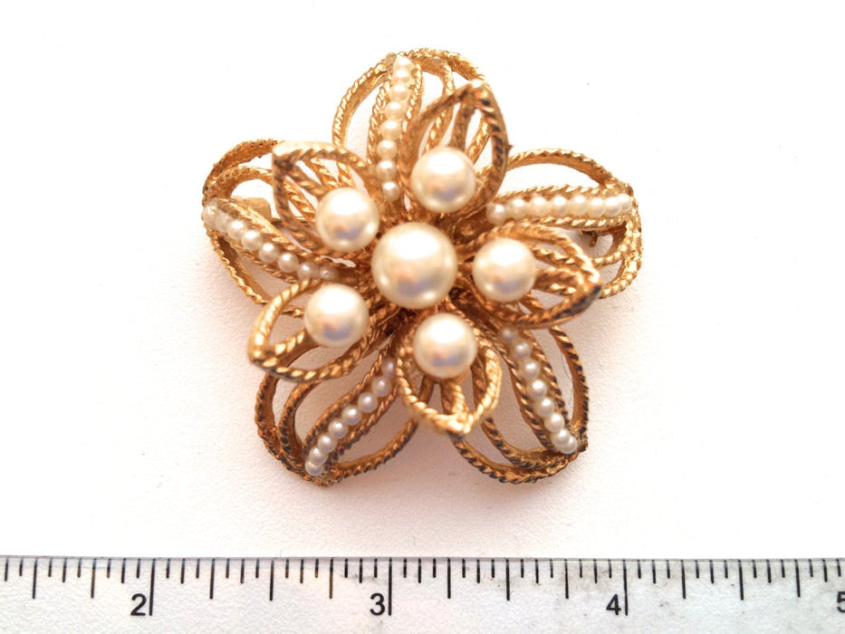 Corocraft signed faux pearl vintage brooch pin, Flower Pin with Faux Pearls, Double tier golden pearl brooch, Mother's Day gift, bridal pin