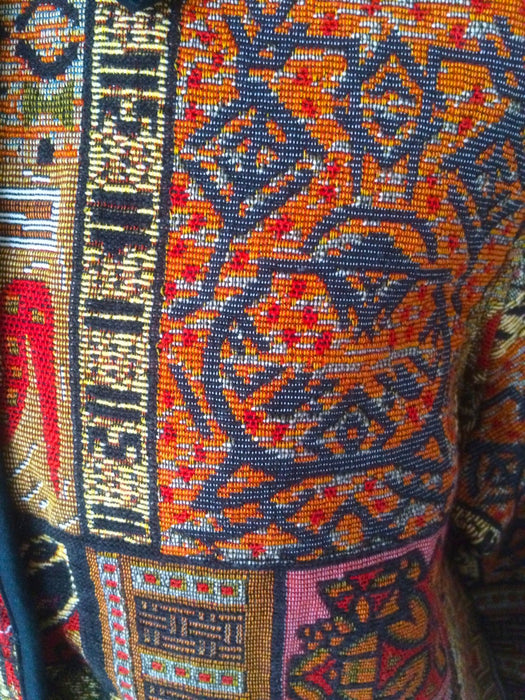 1980s Vintage Jacket Southwestern Tribal Embroidered Tapestry Blazer Boho Hippie Spring Summer Autumn Trimmed Coat Cotton M/L