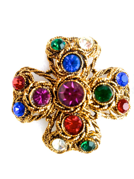 Rare 60s Vintage HAR Hargo Creations Multi Color Rhinestone Maltese Cross Brooch