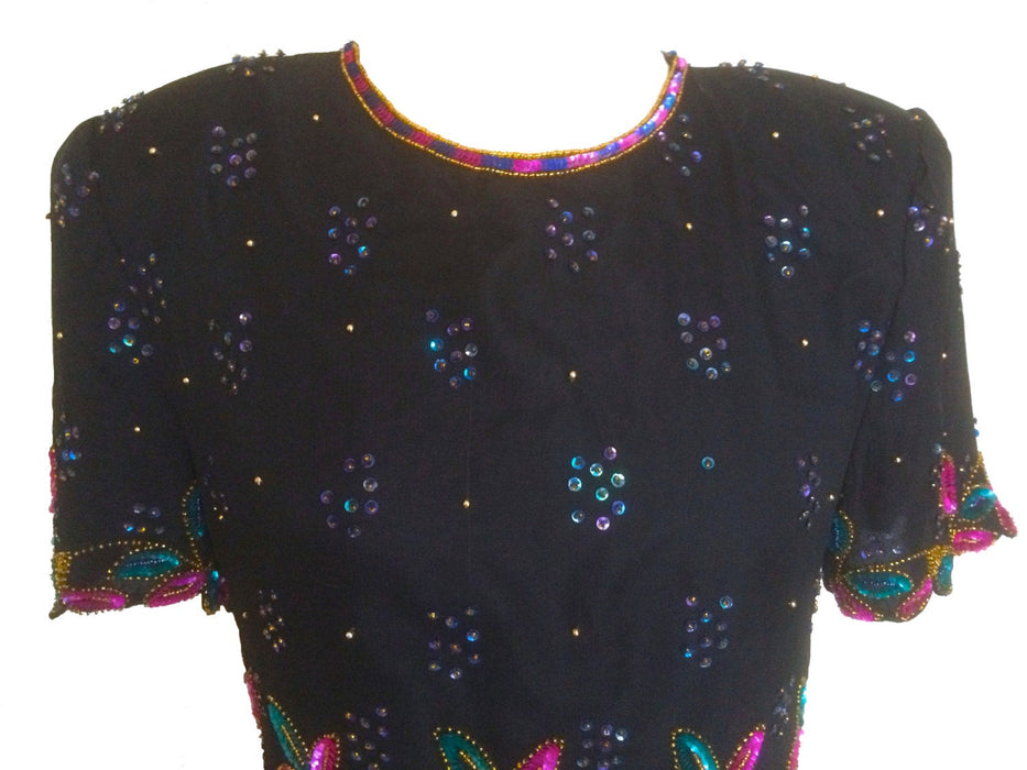 80s Stenay Art Deco 100% Silk Glam Pure Silk Semi-Sheer Black Pink Blue Gold Silk Scalloped Flower Leaves Beaded Blouse Tunic Top, Xmas Top