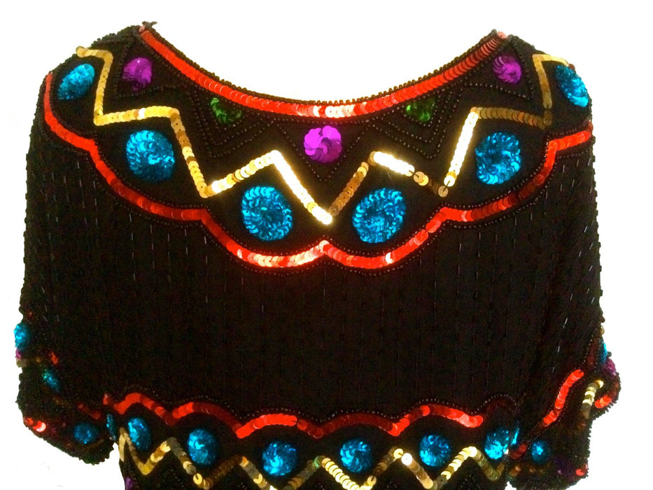 80s RARE Vintage Colorful Beaded Sequin Silk Glam Evening Party Occasion Trophy Top Formal Creative Creations