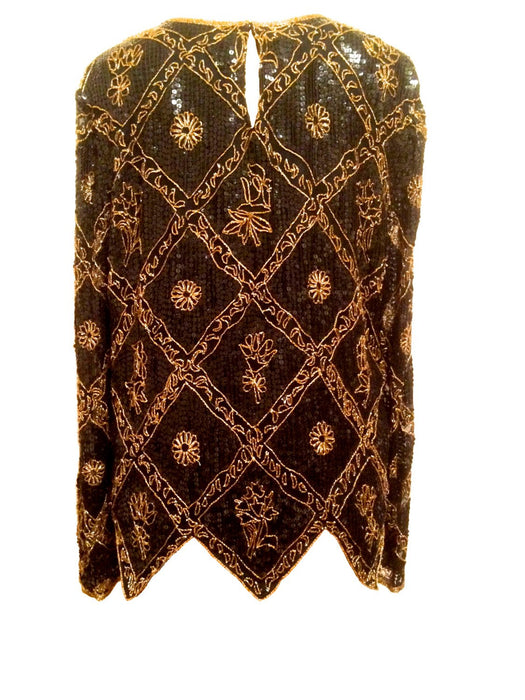 80s Silk Chiffon Scallop Zigzag Hem Black, Gold and Copper Colours Sequinned Floral Beaded Cocktail Party Christmas Tunic Top Sheer Sleeves