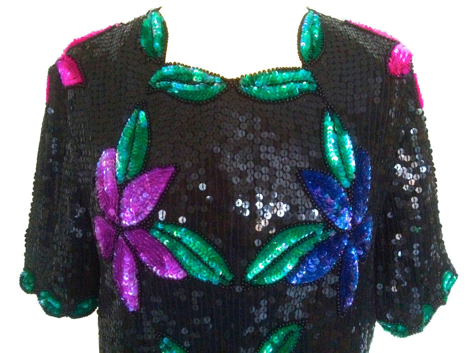 80s Vintage STENAY Black Purple Green Floral Silk Scalloped All Over Sequin Beaded Disco Glitzy Formal Black Tie Short Sleeve Blouse