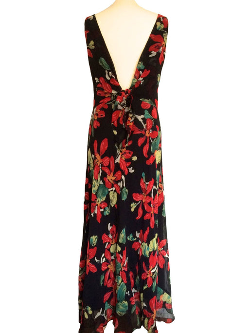Vintage Scoop Back Floral Rayon Maxi Dress Black Red Green with Back Tie Knot, Kamisato, Open Back Low Back Long Dress Spring Summer Boho