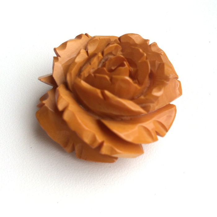 40s-50s Vintage Deeply Carved Bakelite Brooch Butterscotch Rose Tested Authentic