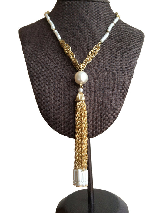 50s Faux Pearl Rope Chain Necklace, Statement Chunky Tassel Pearl Pendant Necklace, Bridal Wedding Pearl Necklace, Prom Pearl Chain Necklace