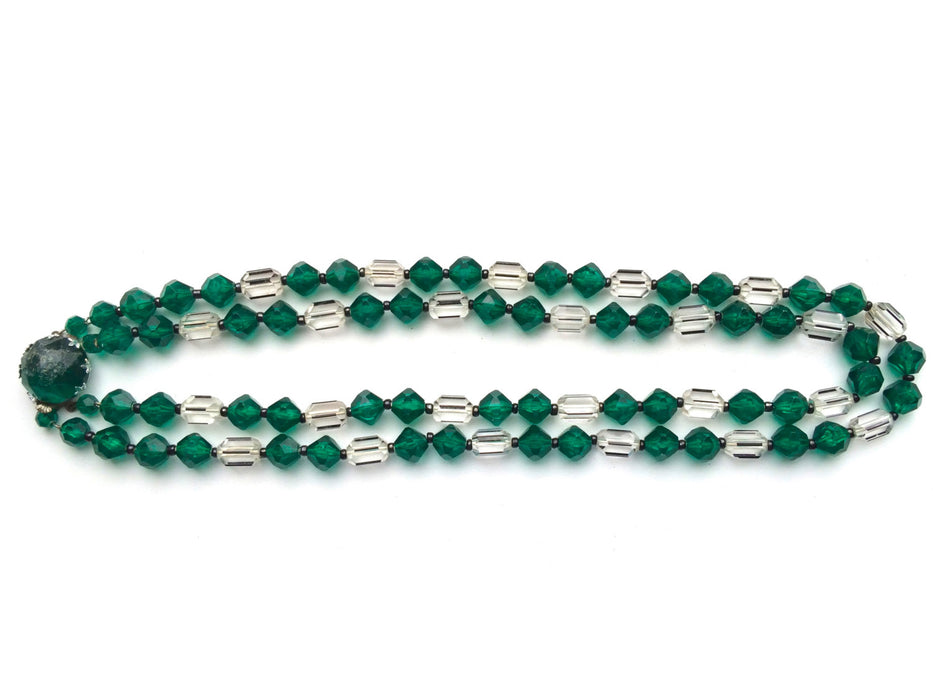 50s Emerald Green & Clear Lucite Necklace, Xmas Green Double Strand Bead Necklace, St Patrick's Day Green Bead Necklace West Germany Signed