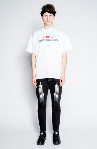I Love To Make Boys Cry White Tee