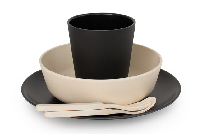 Bamboo Dinnerware Set in Monochrome Maggie & Rose at Home