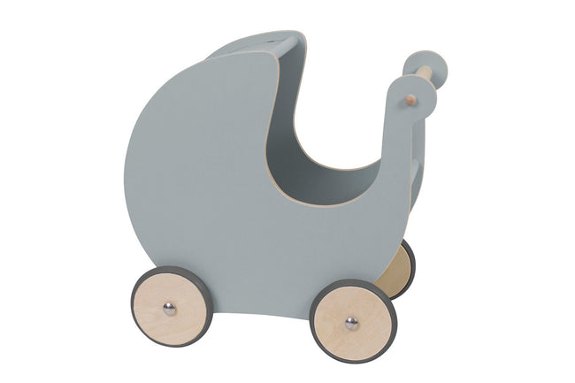Grey Wooden Dolls Pram | Maggie & Rose at Home