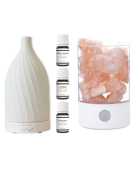 ESSENTIAL OIL INTRO SET + HIMALAYAN SALT LAMP BUNDLE
