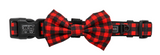 "Big And Little Dogs- ""Plaid to the bone"" dog collar and bow tie"