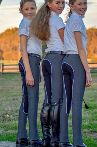 Pull-on Jodhpurs with Full Suede Seat CHILDRENS, black pinstripe