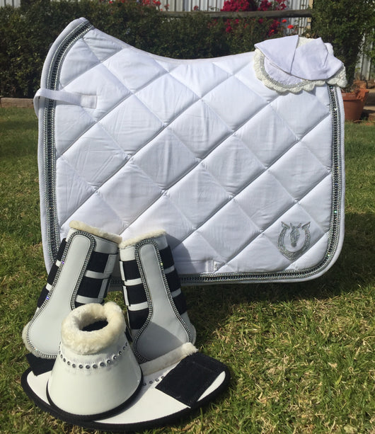 White dressage pad with crystals